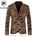 Kirin fogo Mens Floral Blazer Marca Slim Fit Blazer De Veludo homens vintage prom ternos casuais jaqueta masculina masculino desgaste estágio Q63