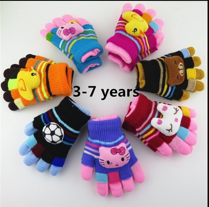 Winter children's thicken thermal five fingers gloves child cartoon twinset semi-finger gloves kids winter 2 pieces set glove