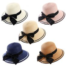 цена Women Summer Wide Brim Hat Bowknot Straw Hat Folding Beach Hat For Holiday Outdoor Sun Hats