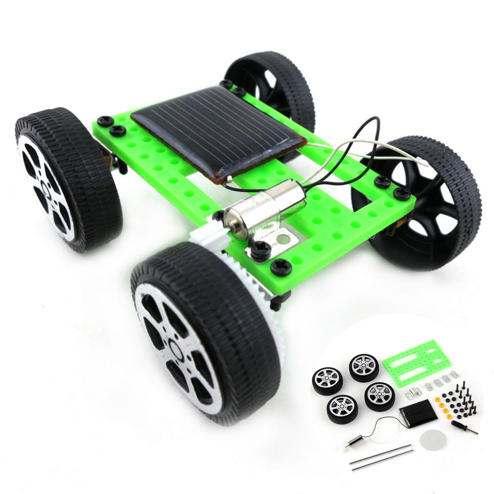 1 Set Mini Solar Powered Toy DIY Car Kit Children Educational Gadget Hobby Funny solar power system toys fingerboard wheels