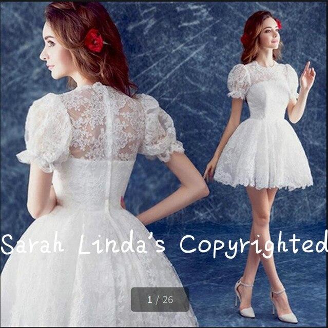 7a107d4c4d 2017 lovely short a line with puff sleeve white lace short bride dress  petite cap sleeve high neckline modest wedding dress
