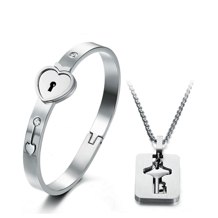 key bracelet lover p lock titanium couple s female wristband male heart