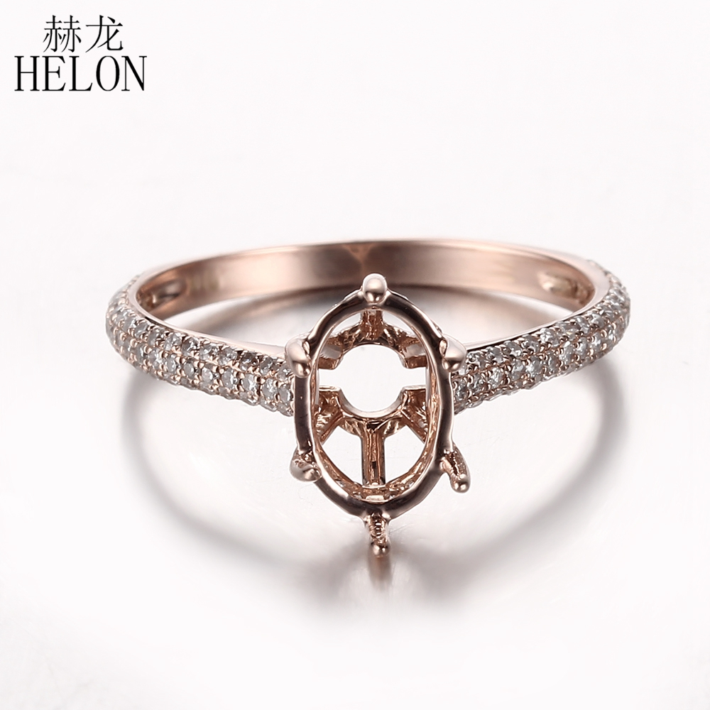HELON Solid 14K Rose Gold Brilliant Oval 9x7mm Ring Semi Mount Natural Diamond Engagement Wedding Ring Fine Jewelry Diamond Ring