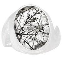 Genuine BLACK RUTILE Ring 925 Sterling Silver Jewelry,USA Size :6.75, MHBAR3621