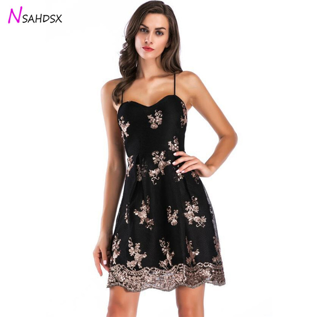 7139f2abaa3 Summer New 2018 Black Evening Sling Dress Sequins Sexy Sleeveless Strapless  Embroidery Swing Type Spaghetti Strap Dress Vestidos