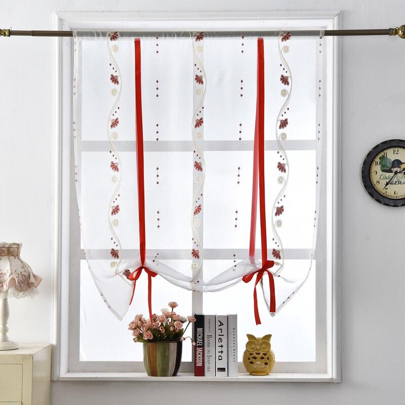 Floral cortinas romanas de cocina puerta cortinas transparentes textiles para el