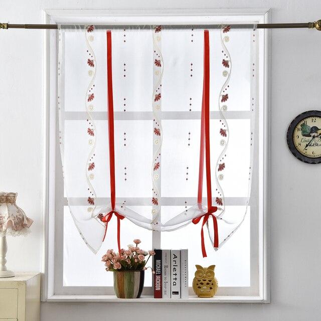 US $6.89 49% di SCONTO|Floreale romano tende porta della cucina tende  trasparenti tessili per la casa breve tulle nastro pannello tende della  finestra ...