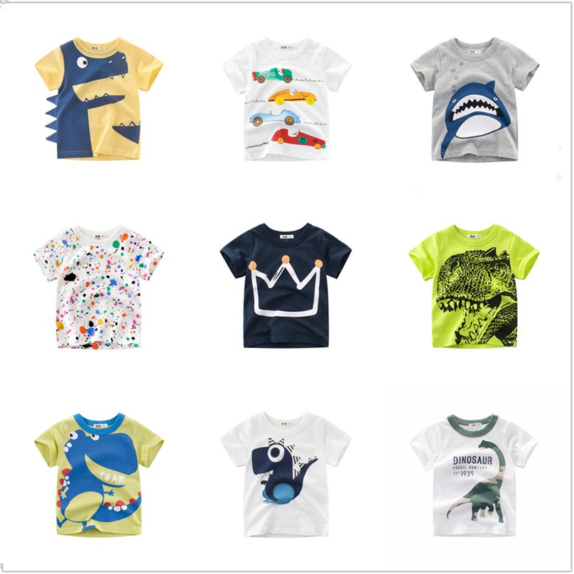 Boys T-Shirt Tops Short-Sleeve Crown Dinosaur Shark-Print Toddler Infant Kids Casual