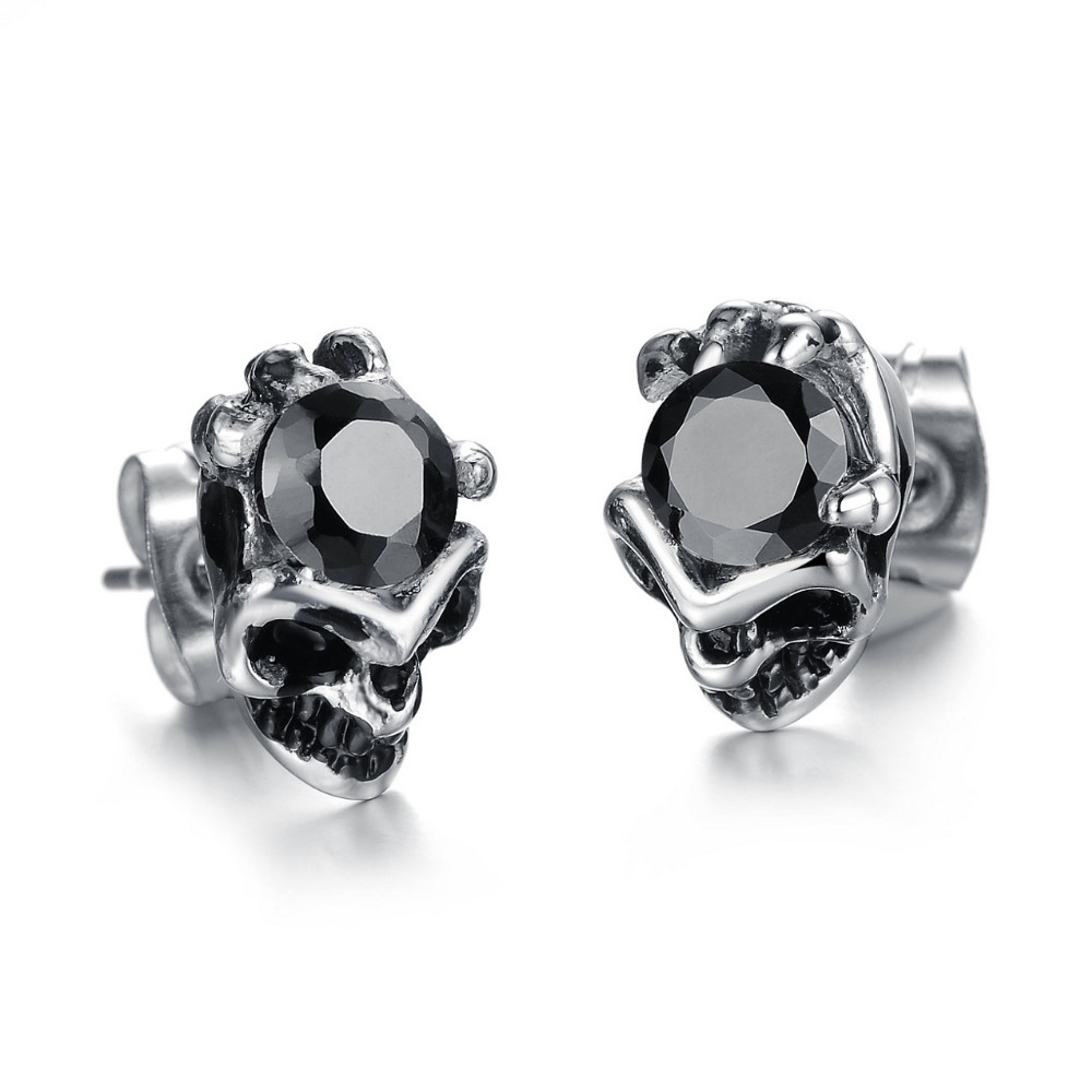 luxe diamond black athra stud oval crystal pin earring