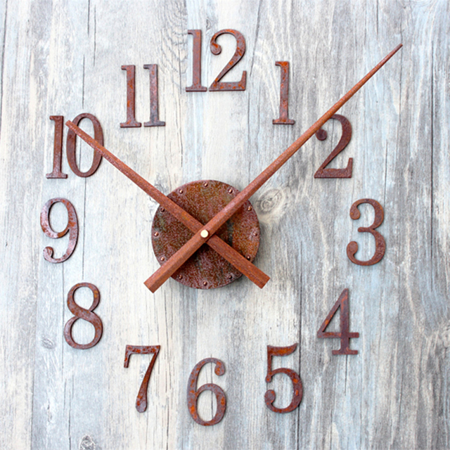 """DIY rdzy zegar ścienny nowoczesny Design Retro akrylowe zegary wyciszenie europejskiej ścienne w stylu Vintage zegarek 3D naklejki ozdoby do dekoracji domu czas 19.6"""""""