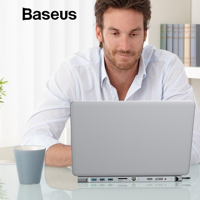 Baseus Multi 10in1 USB Tipo C HUB a HDMI VGA RJ45 USB 3.0 Convertitore HUB con SD/TF Card lettore USB C Adattatore per Macbook Pro