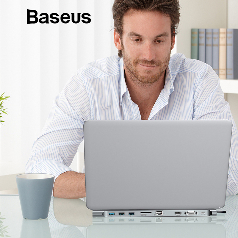 Baseus Multi 10in1 Тип usb C концентратор к HDMI VGA RJ45 USB 3,0 концентратор конвертер с SD/TF Card Reader USB C адаптер для Macbook Pro