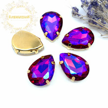Red AB Dazzle color Water drop Glass Crystal sew on rhinestones with GOLD four claw Diy weddingdress Free shipping(China)