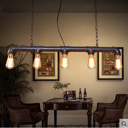 Loft Vintage Edison Pendant Lights Personalized Bar Lighting Industrial Vintage Water Pipe Pendant Lamp E27Cafe Bar Lamps vintage pendant lights retro water pipe pendant lamp e27 holder edison bulbs lighting fixture for warehouse diningroom ktv bar