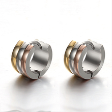 2019 New Design 1 Pair Men Woman Jewelry Ear Stud Earrings Cool Punk Men's Stainless Steel Hoop Piercing Round Earring Accessory