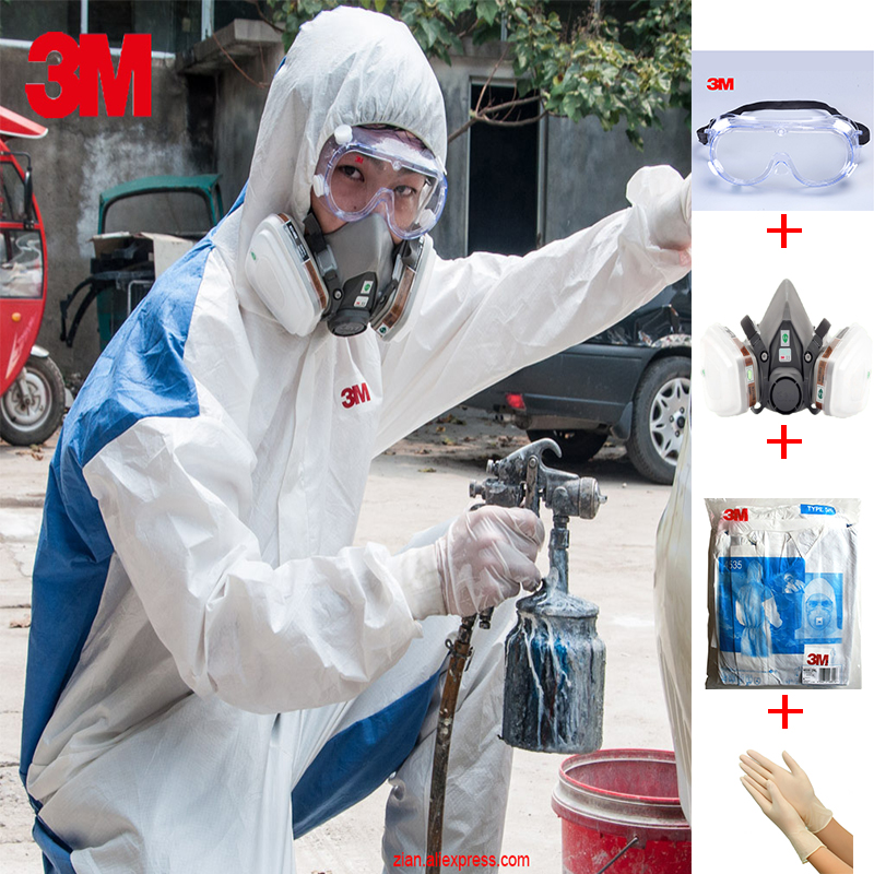3M 4535 vêtements de protection 6200 masque à gaz Spray chimique Anti-poussière respirant vêtements véritable Pesticide peinture vêtements de sécurité