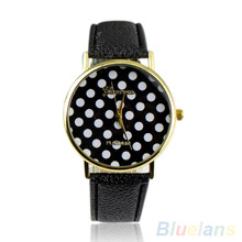 Hot Sales Popular Colorful Dress Girl's Women's Sweet Small Polka Dot Watch Geneva Leather Quartz Wrist Watch NO181 5V52 AJWP(China)