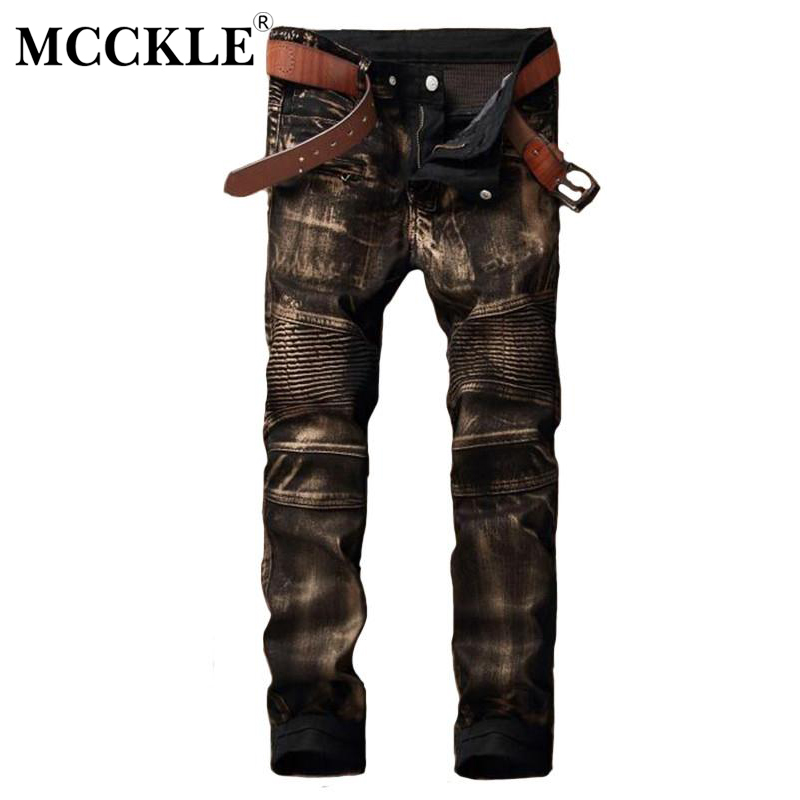 MCCKLE Fashion Brand Designer Mens Gold Biker Jeans Pants Slim Fit Moto Jean Trousers For Male Hi-Street Straight Denim Joggers fashion brand designer mens torn jeans pants hi street ripped denim joggers gray distressed jean trousers man streetwear lq076
