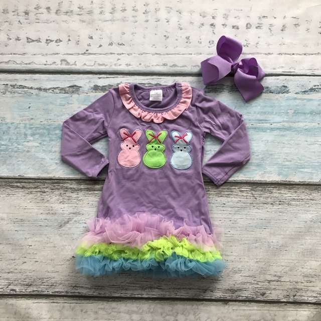 new arrival baby girls 3 bunny dress children Easter party outfits children bunny dress with ruffle dress with matching bows