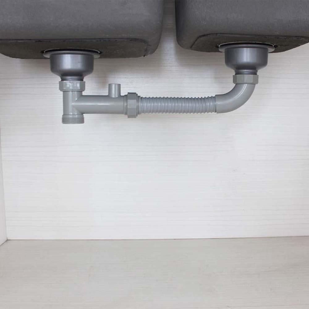 US $115.15 Talea Doppel siwashing waschbecken Grau abflussrohr Küche Leuchten  kanalisation schlauch Wäsche Sink Abfall Kit downcomer verbinden rohr