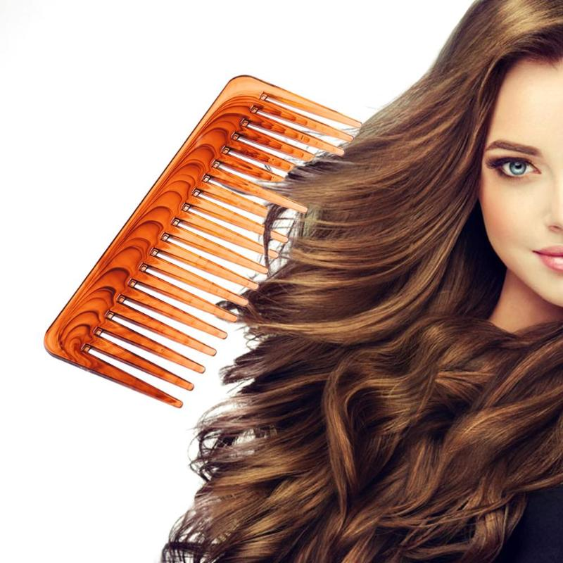 1pcs Wide Tooth Comb Brown Plastic Large Tangle Hair Brush Stylist Care Tools Wide Hair Comb Hair Care Styling Tools Comb