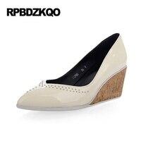 Beige Footwear Pointed Toe Patent Leather Wooden Genuine Elegant Shoes Women 2017 Evening Ladies High Heels
