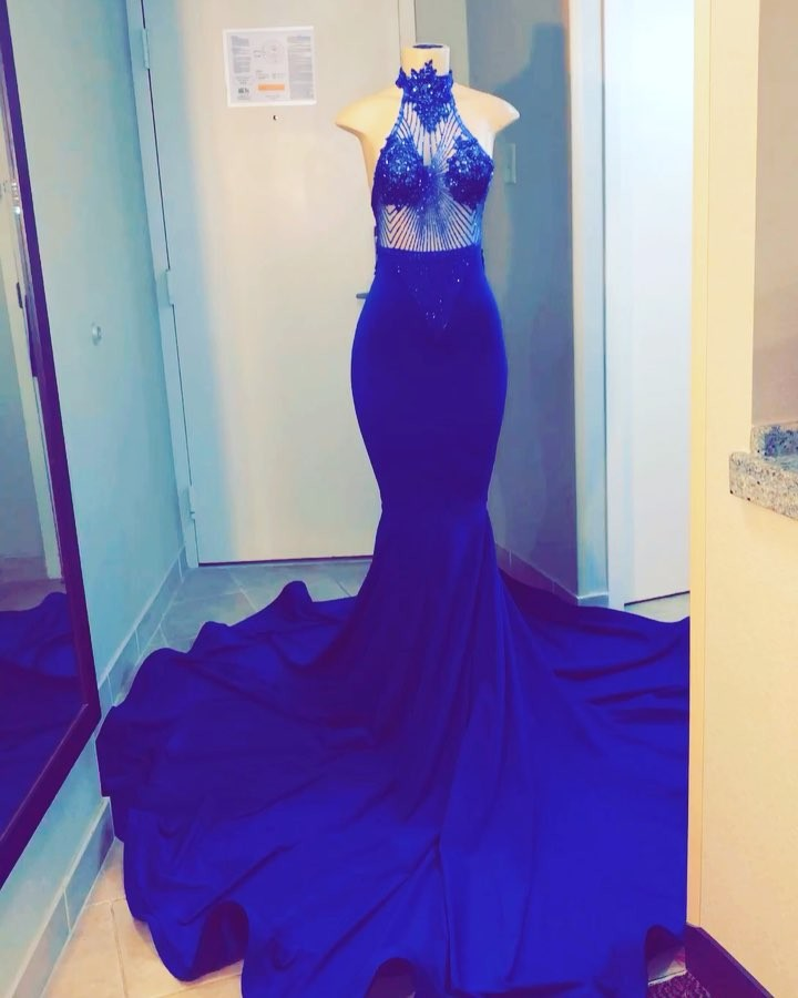 Long African Black Girl Prom Dress High Neck Beaded See Through Top Royal Blue Mermaid Prom Dresses 2019