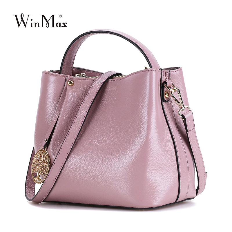 Ladies Winmax Cowhide Leather Handbags Bucket Solid Women Crossbody Messenger Tote Bags Genuine Leather Top-Handle Shoulder Bags genuine leather fashion women handbags bucket tote crossbody bags embossing flowers cowhide lady messenger shoulder bags