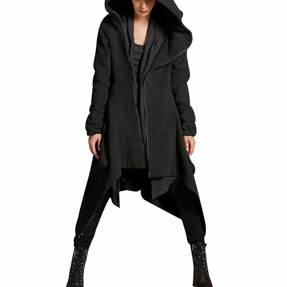 Mode Hooded Trenchcoat 2019 Womens Winter Casual Lange Mouw Rits Asymmetrische Solid Gewatteerde Jas Vrouwen Overjas Clothes6.26
