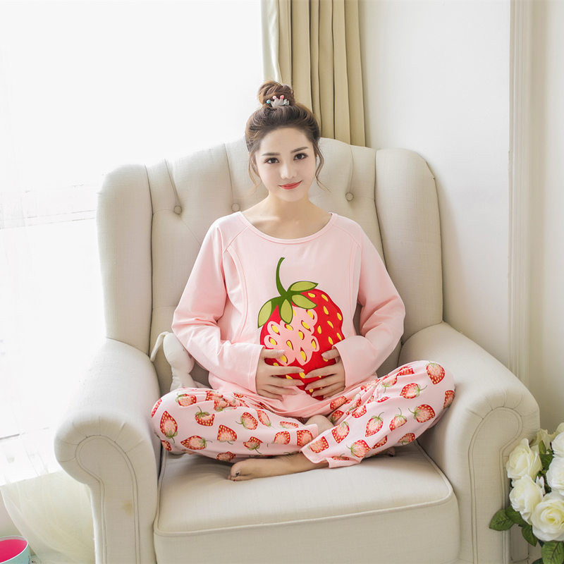 2017 spring cotton pajamas long sleeved suit cartoon feeding pregnant women postpartum lactation Strawberry clothes confinement ...
