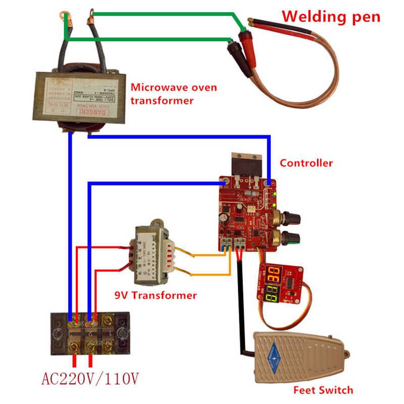 40A/100A Scheda di Controllo della Macchina di Saldatura a punti Saldatore AC 110V 220V a 9V Trasformatore Scheda del Controller tempi di Corrente di Corrente in Tempo