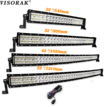 Фотография VISORAK 5D 22 32 42 52 inch LED Bar 200W 300W 400W 500W Curved LED Work Light Bar For Tractor OffRoad 4WD 4x4 Car Truck SUV ATV