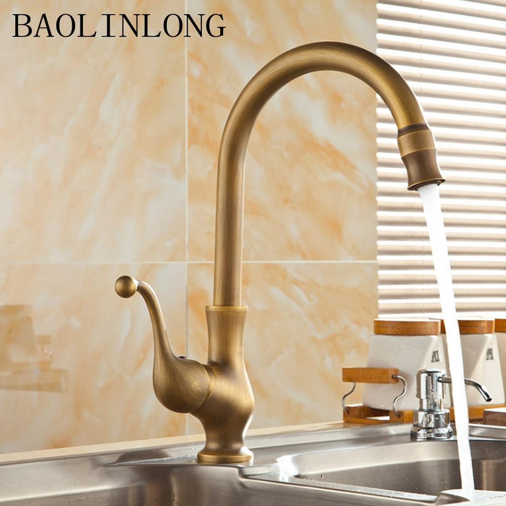 BAOLINLONG Antique Style Brass Kitchen Faucets Tap Cozinha Swivel Spout Faucet