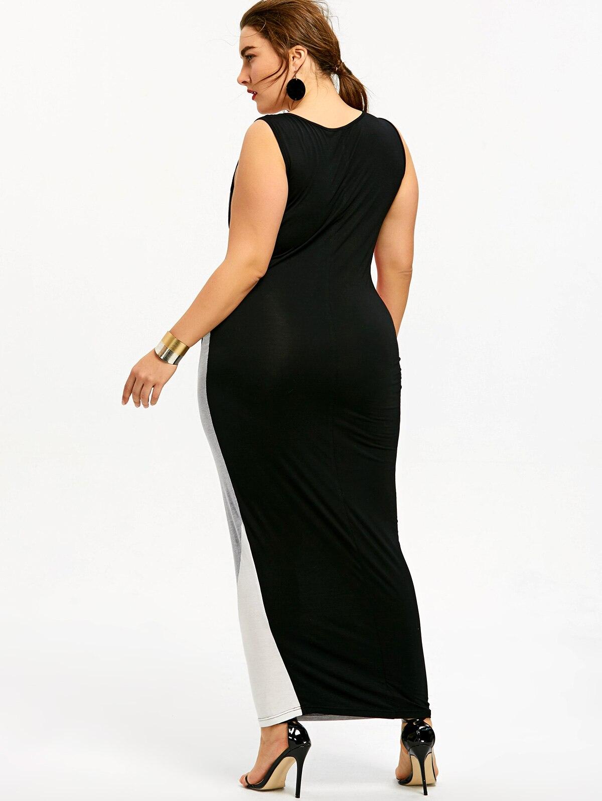 Gamiss Plus Size 5XL U Neck Maxi Tank Dress Color Block ...