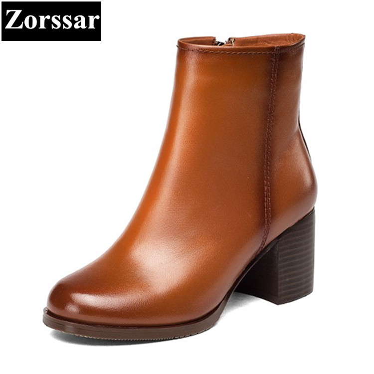 {Zorssar} 2017 hot new women boots fashion Retro genuine leather High heels ankle boots Round Toe zipper thick heel short boots zorssar 2017 hot new women boots fashion retro genuine leather high heels ankle boots round toe zipper thick heel short boots