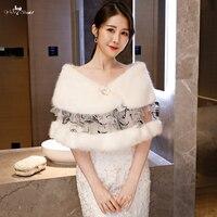 LZP402 3 Ladies Elegance Mink Fur Black Lace Wedding Shawls Ivory Fur Bolero Winter Wedding Cape