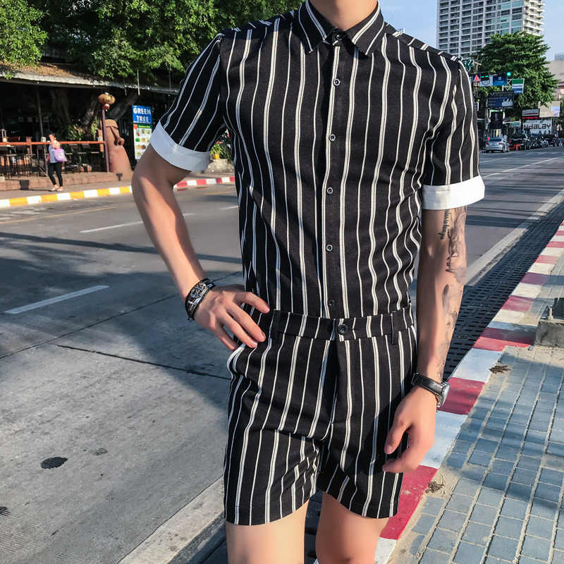 Camisa divertida a rayas a la moda hombres Slim Fit Tops Casual chándal hombres M-3XL nuevo Est Turn Down Collar camisa de manga corta los hombres