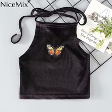 NiceMix Velvet Embroidery Top Black Short Sleeveless Shirts Chic Charm Soft Plush Lace Up Women Trendy Retro Tank Summer