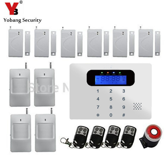 YobangSecurity Touch Keypad Wireless GSM SMS Smart Home Security Burglar Alarm System Smoke Sensor Voice PIR Motion Door Window 433mhz dual network gsm pstn sms house burglar security alarm system fire smoke detector door window sensor kit remote control