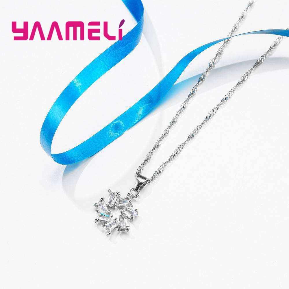 YAAMEL מכירה לוהטת עגול נשים נשי תכשיטי מבריק מעוקב Zirconia 925 כסף סטרלינג שרשרת עגילי סט עבור מסיבת אירוסין