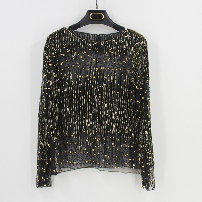 eb754512f32b2 2018 Runway Sexy Sequined Bead Sheer Mesh Lace Long Sleeve Shirt Vintage  Diamonds Embroidery Embellished Blouse Top Women Tunic -in Blouses   Shirts  from ...