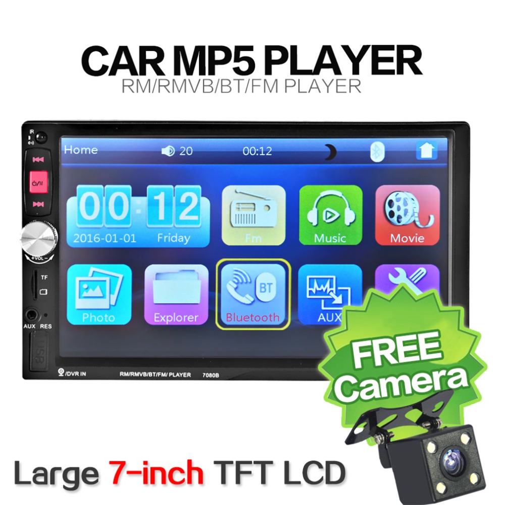 7 Inch 7080B Car  MP5 Audio Car Video Player with HD Touch Screen Bluetooth Stereo Radio  USB Auto Electronics Remote Control 10 inch hdmi monitors hd digital lcd screen car headrest monitor car audio playerfm car headrest dvd player with gaming system