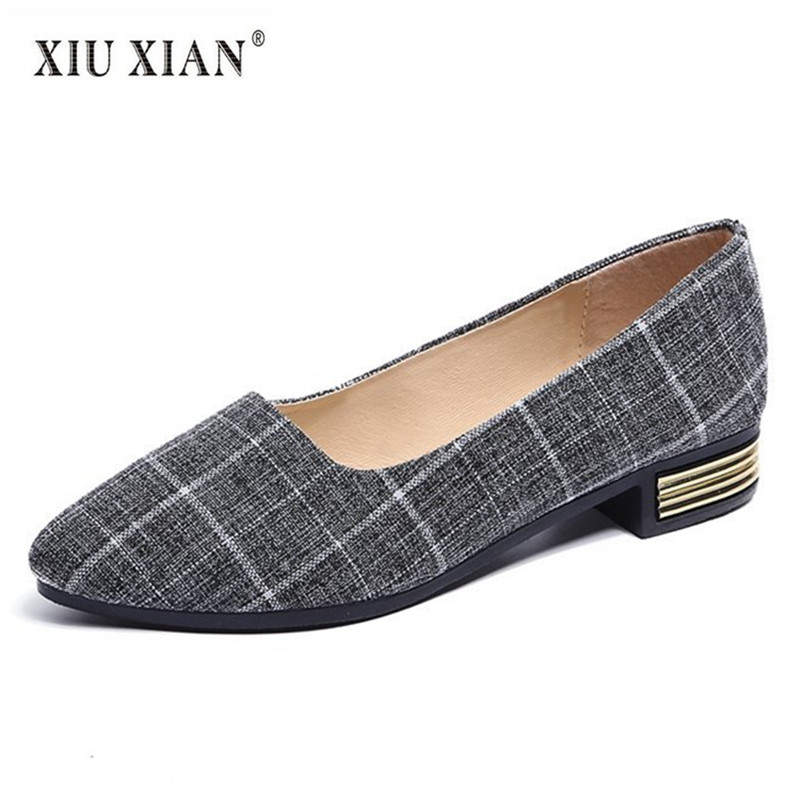 2018 Summer New Fashion Women Flats Big Size 35-42 Plaid Cloth Comfortable Lazy Shoes Office Ladies All-match Casual Flats Shoes new arrival soft leather shoes women flats fashion design square toe comfortable women s flats office ladies brand shoes