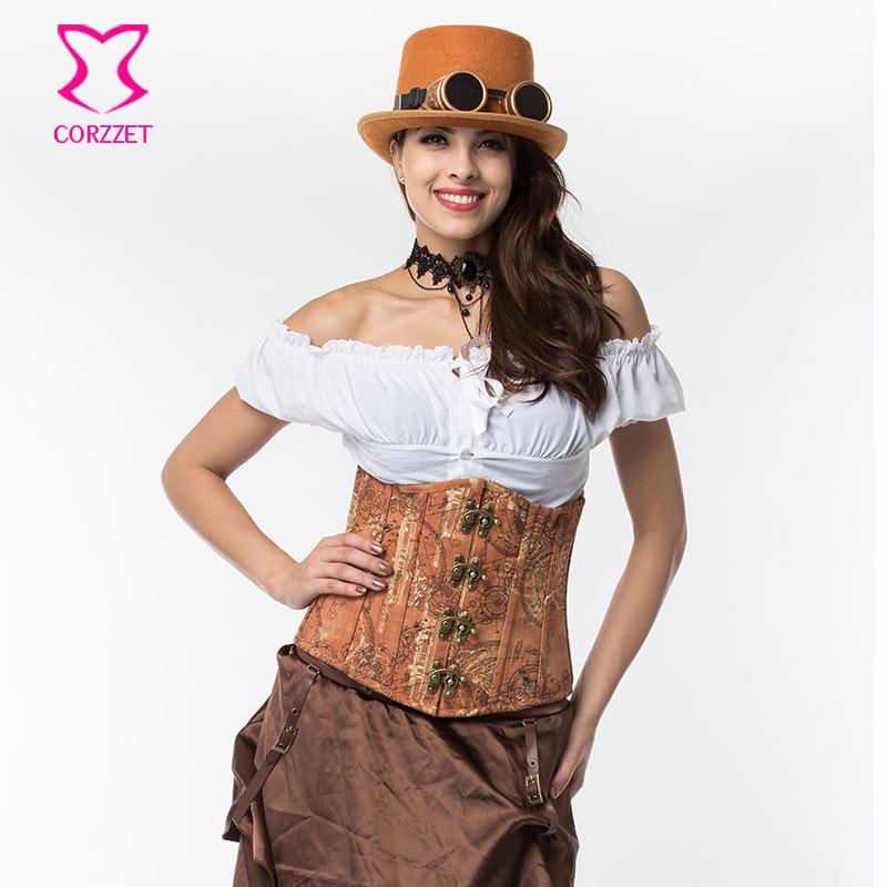 Corzzet Brown Denim&Brocade Spiral Steel Boned Steampunk Underbust   Corsets   And   Bustiers   Waist Slimming Women Gothic   Corsets