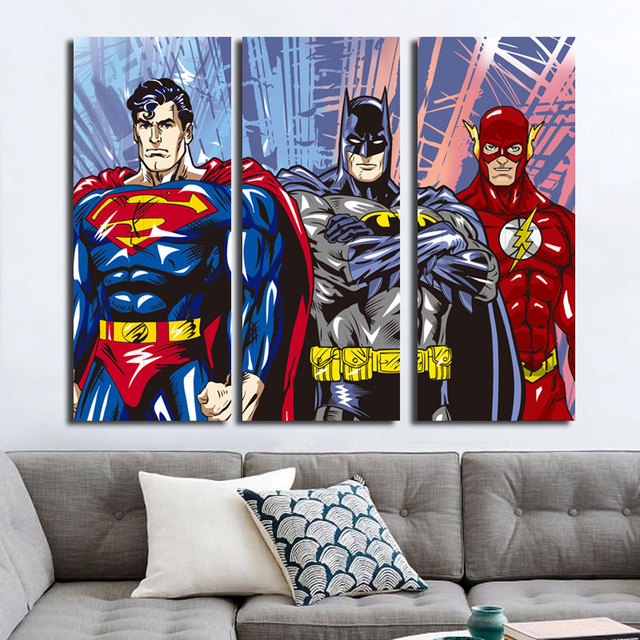 Superman Flash Batman 3 Piece No Frame Canvas Painting Art Posters Prints