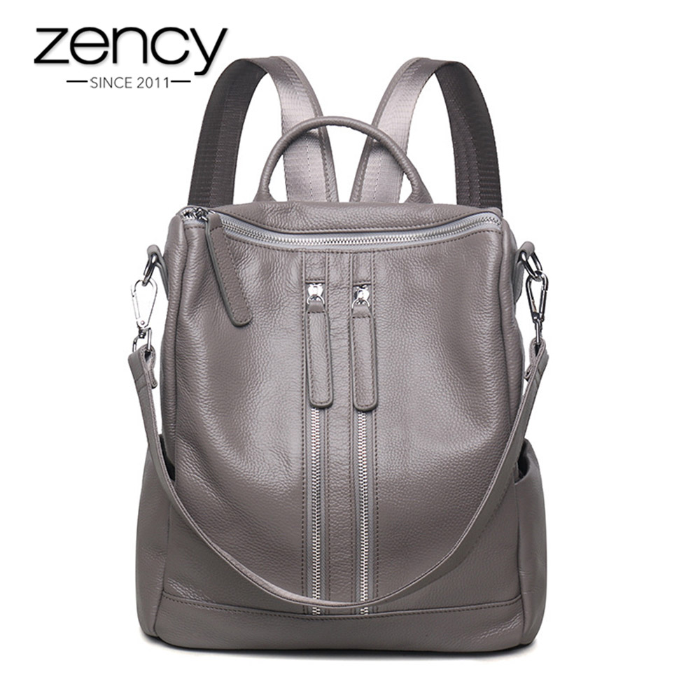 Zency Fashion Genuine Leather Women Backpack Ladies Travel Bags Girl Schoolbag Preppy Style 3 Ways Wearing Fashion Knapsack