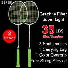 47560abb441 2 Pieces Esper 4U Carbon Fiber Badminton Racket Up 35lbsProfessional Super  Light Raquete With String For Adult