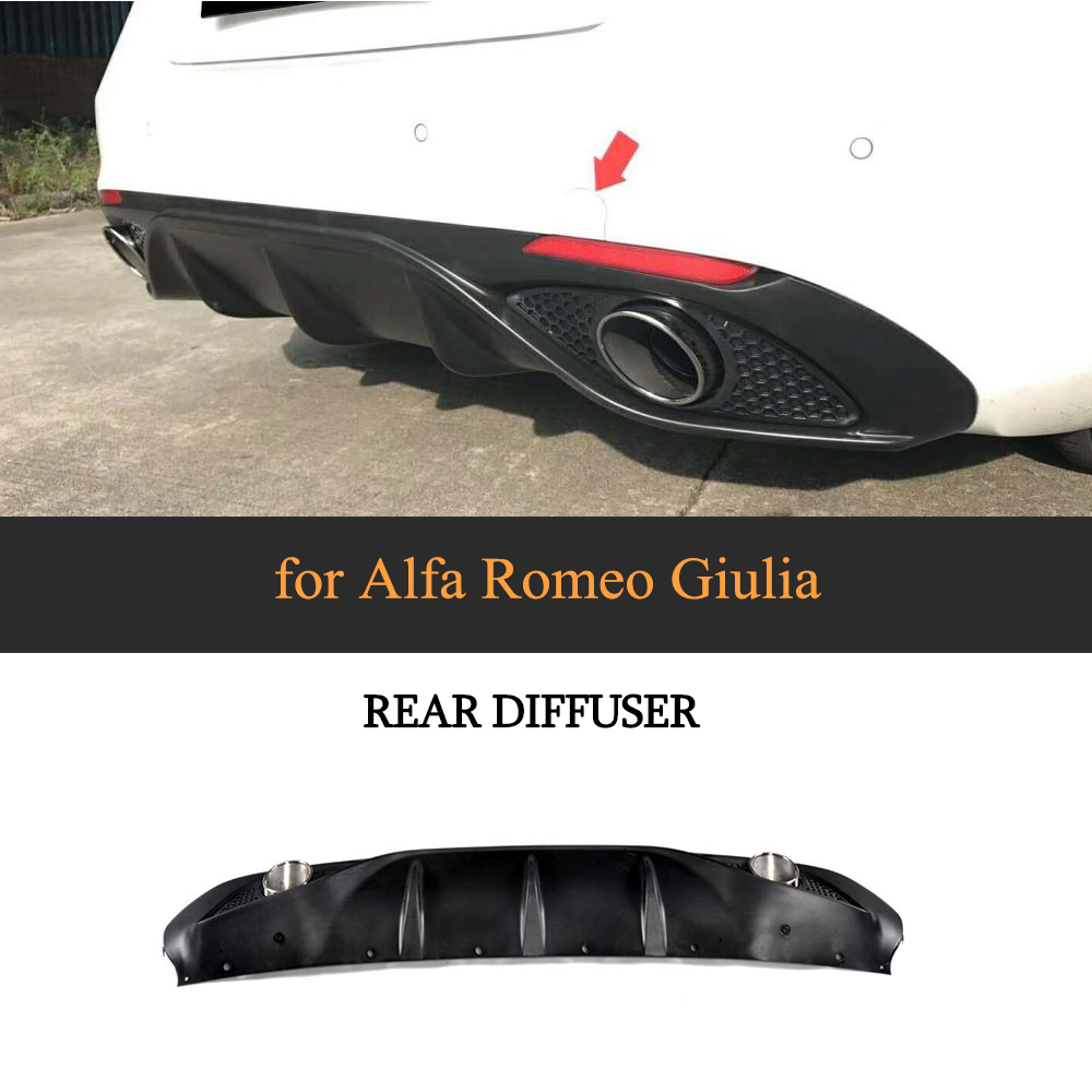 PP Car Rear bumper Lip Diffuser Spoiler With Exhaust for Alfa Romeo Giulia Sedan 4 Door 2016 2017 Quadrifoglio <font><b>TI</b></font> image
