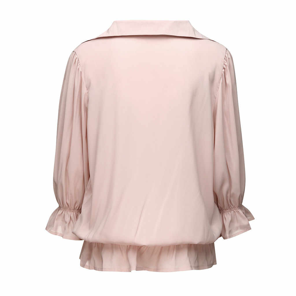 2019 Summer Women's Shirt Blouse Solid Three Quarter Sleeve Ruffled Chiffon Blouse Elastic Band Button-Open Collar Top Blouse