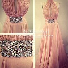 Elegant Long Prom Dresses Halter Sleeveless A-line Pleated Chiffon Prom Dresses In Real Sample 2017